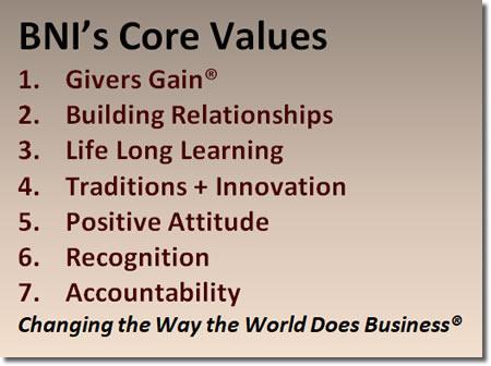 BNI Kansas and Kansas City Core Values